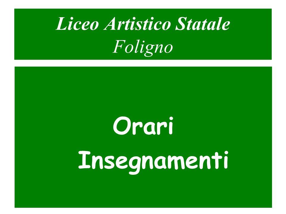 Liceo Artistico Statale Foligno Orari Insegnamenti