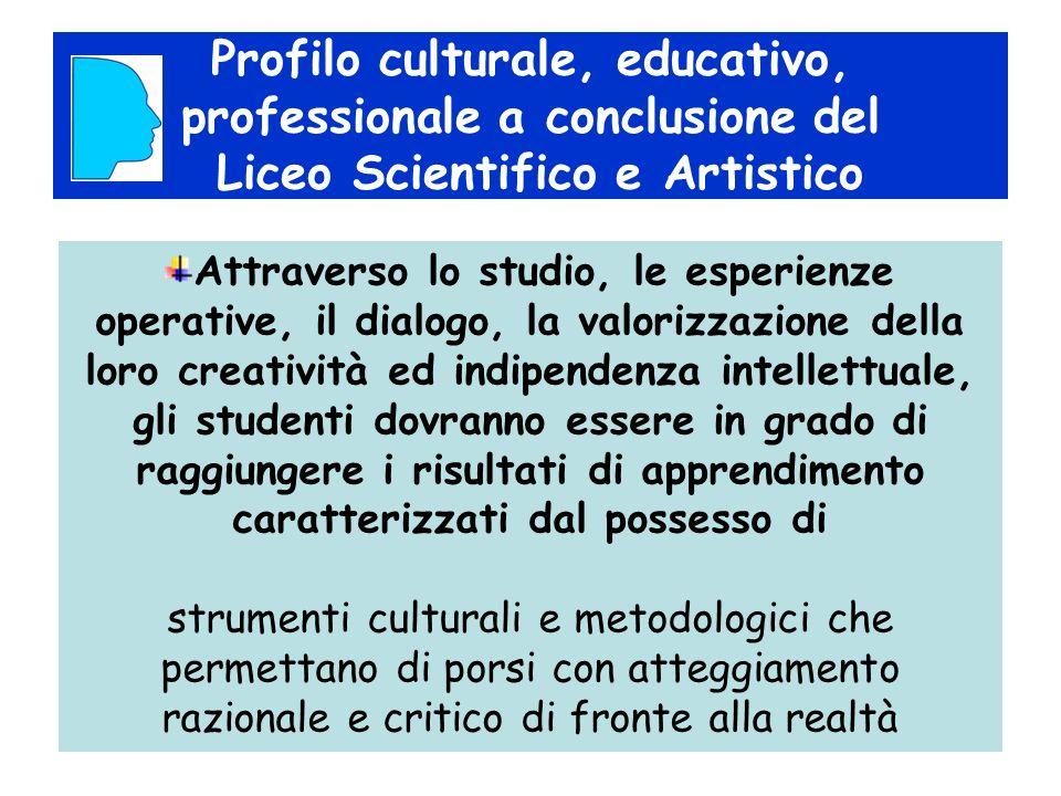 Profilo culturale, educativo, professionale a conclusione del Liceo Scientifico e Artistico Attraverso lo studio, le esperienze operative, il dialogo,