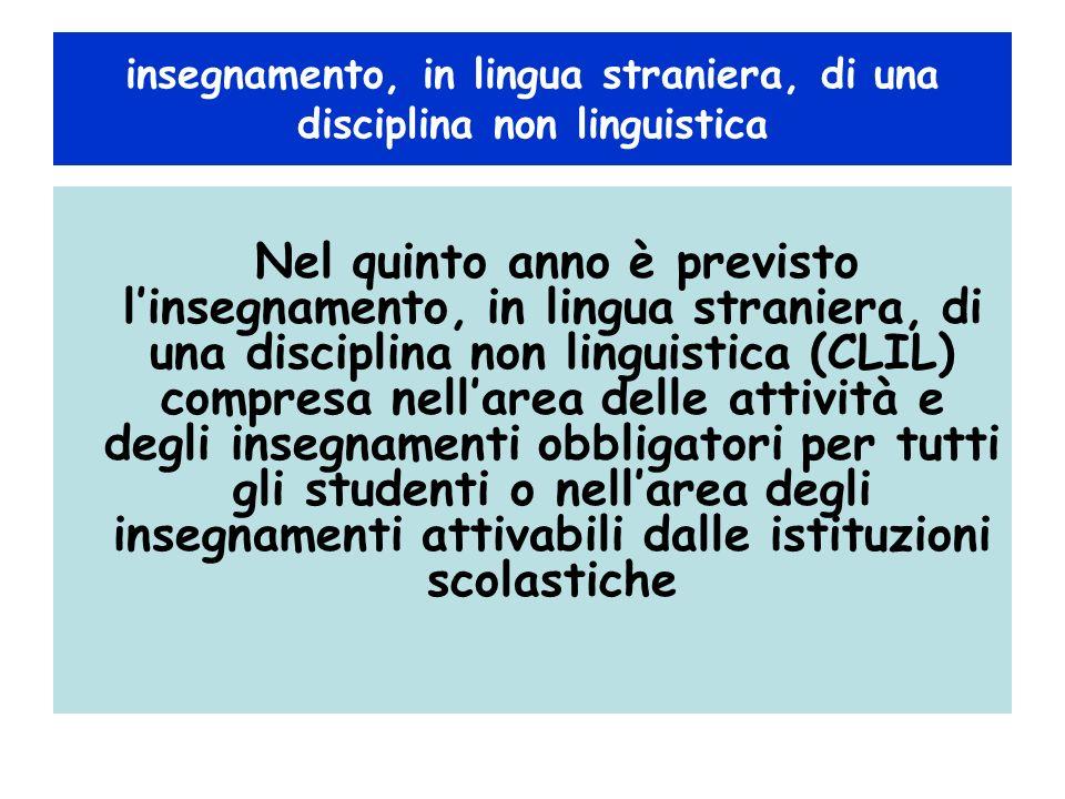 insegnamento, in lingua straniera, di una disciplina non linguistica Nel quinto anno è previsto linsegnamento, in lingua straniera, di una disciplina