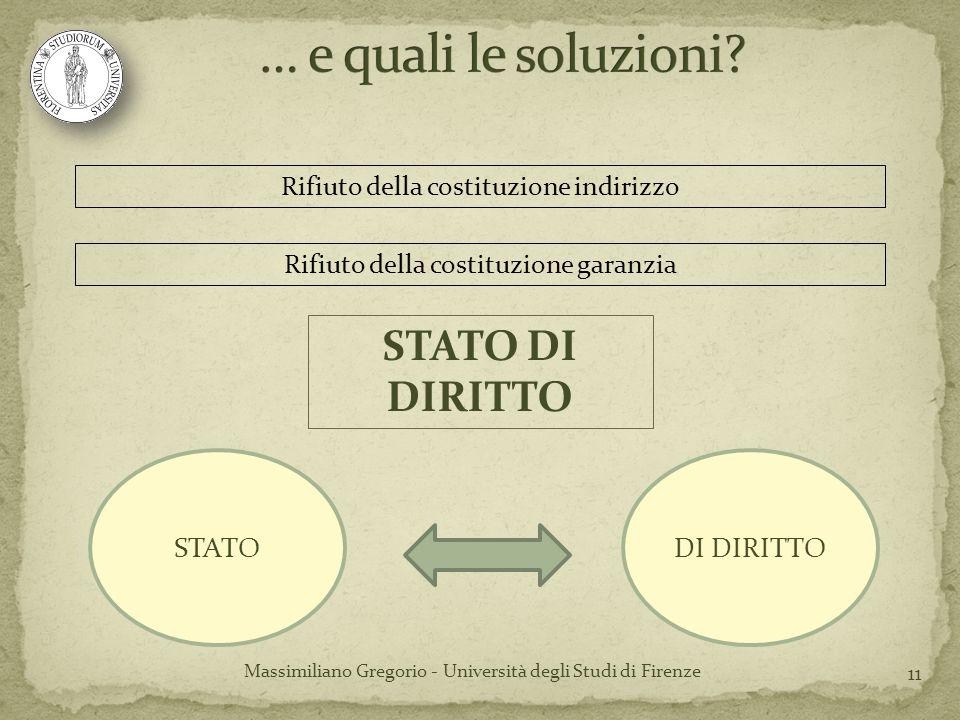 11 Rifiuto della costituzione indirizzo Massimiliano Gregorio - Università degli Studi di Firenze Rifiuto della costituzione garanzia STATODI DIRITTO