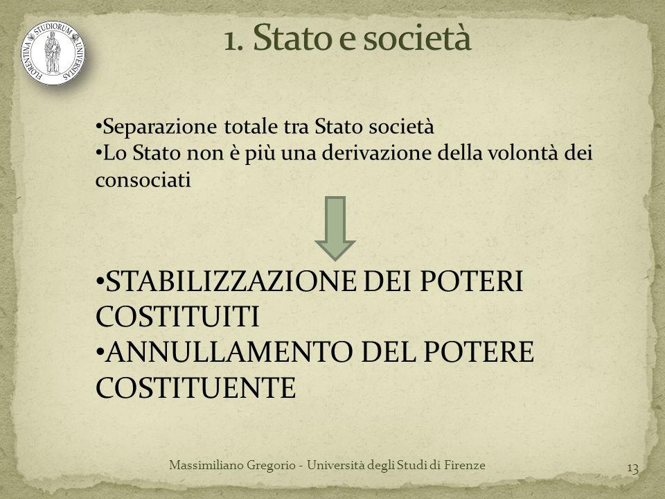 13 Massimiliano Gregorio - Università degli Studi di Firenze Separazione totale tra Stato società Lo Stato non è più una derivazione della volontà dei