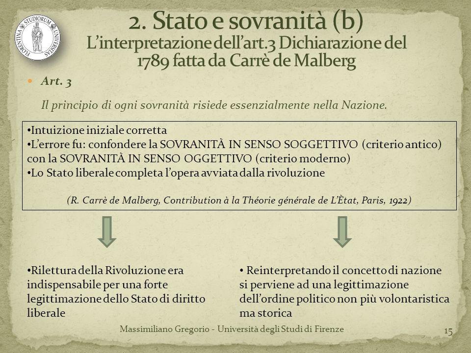 15 Massimiliano Gregorio - Università degli Studi di Firenze Art. 3 Il principio di ogni sovranità risiede essenzialmente nella Nazione. Intuizione in