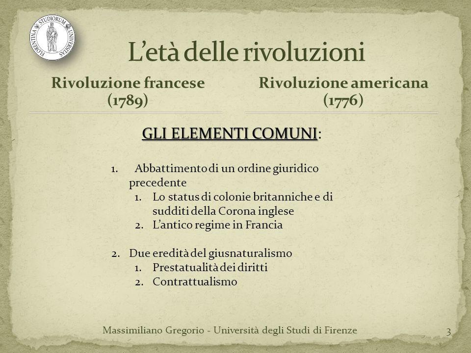 3 Rivoluzione francese (1789) Rivoluzione americana (1776) GLI ELEMENTI COMUNI GLI ELEMENTI COMUNI: 1. Abbattimento di un ordine giuridico precedente