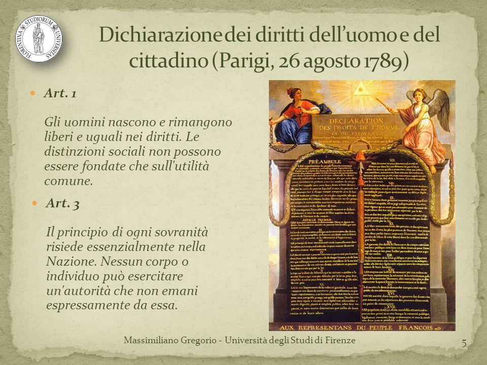 5 Art. 1 Gli uomini nascono e rimangono liberi e uguali nei diritti. Le distinzioni sociali non possono essere fondate che sull'utilità comune. Art. 3