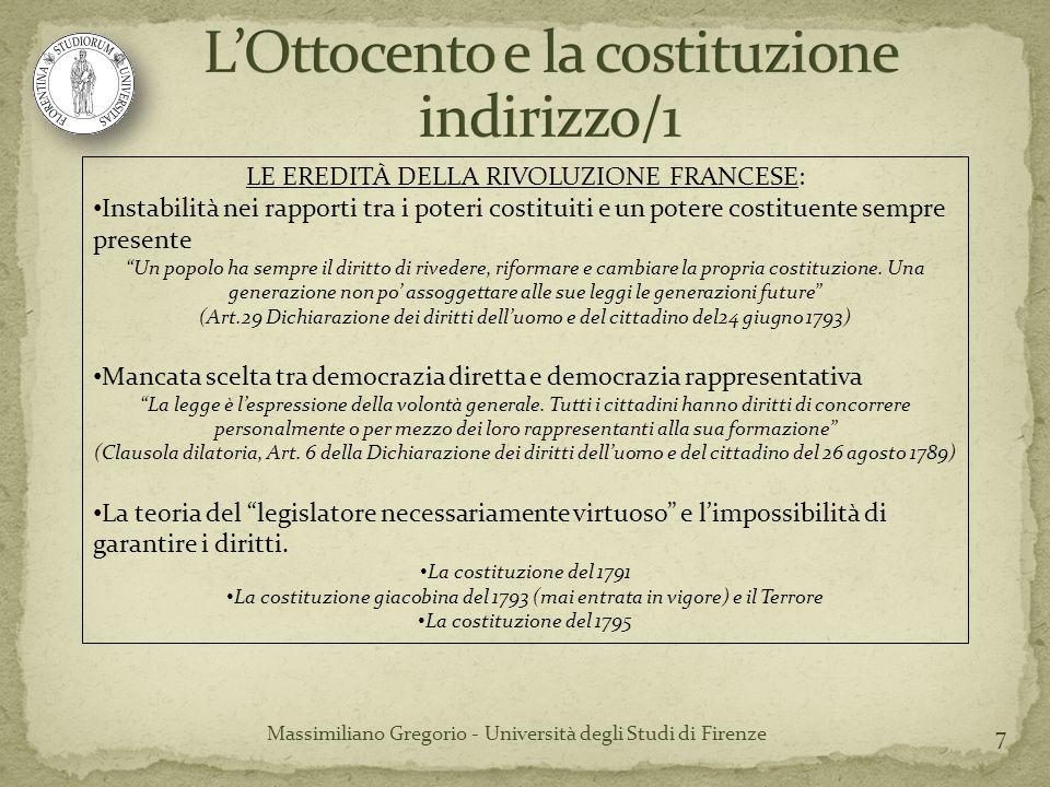 18 Massimiliano Gregorio - Università degli Studi di Firenze Rivoluzione francese SOVRANITÀ (popolare) Costituzione Stato Stato di diritto liberale STATO (sovrano) Costituzione