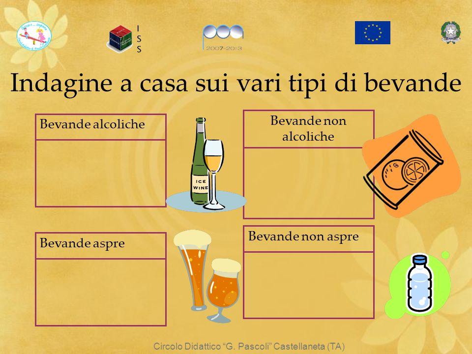 Circolo Didattico G. Pascoli Castellaneta (TA) Indagine a casa sui vari tipi di bevande Bevande alcoliche Bevande non alcoliche Bevande aspre Bevande