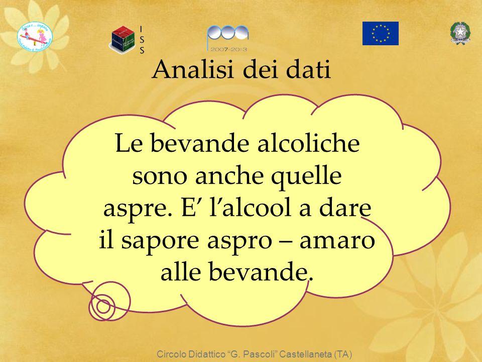 Circolo Didattico G. Pascoli Castellaneta (TA) Le bevande alcoliche sono anche quelle aspre. E lalcool a dare il sapore aspro – amaro alle bevande. An