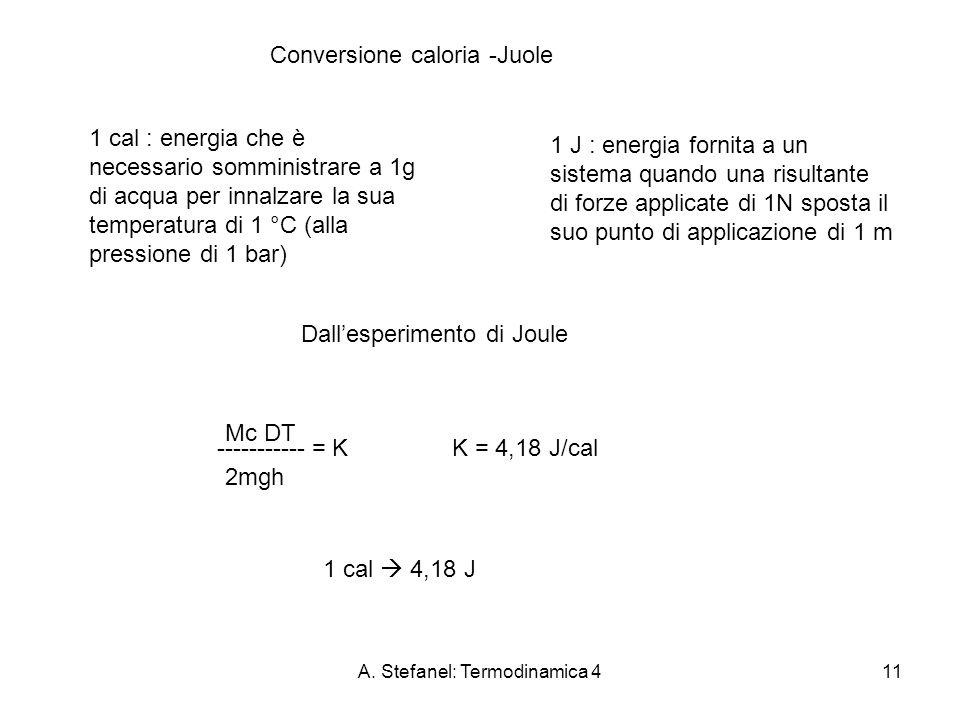 A. Stefanel: Termodinamica 411 Conversione caloria -Juole 1 cal : energia che è necessario somministrare a 1g di acqua per innalzare la sua temperatur