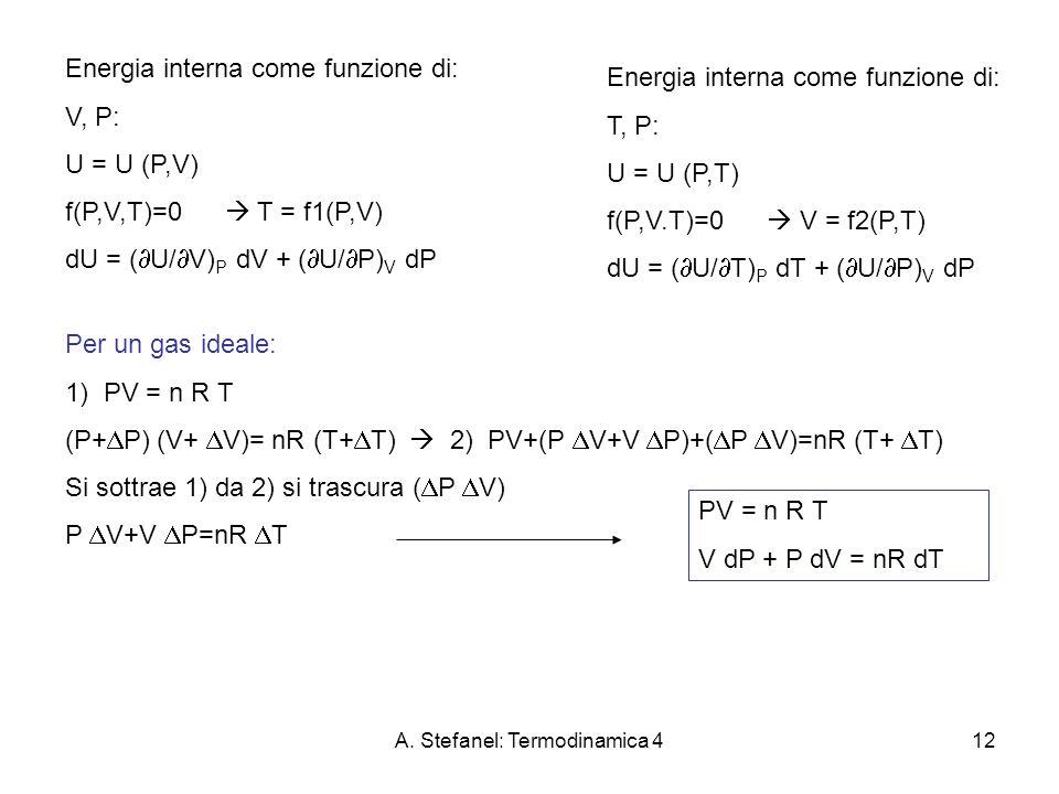 A. Stefanel: Termodinamica 412 Energia interna come funzione di: V, P: U = U (P,V) f(P,V,T)=0 T = f1(P,V) dU = ( U/ V) P dV + ( U/ P) V dP Energia int