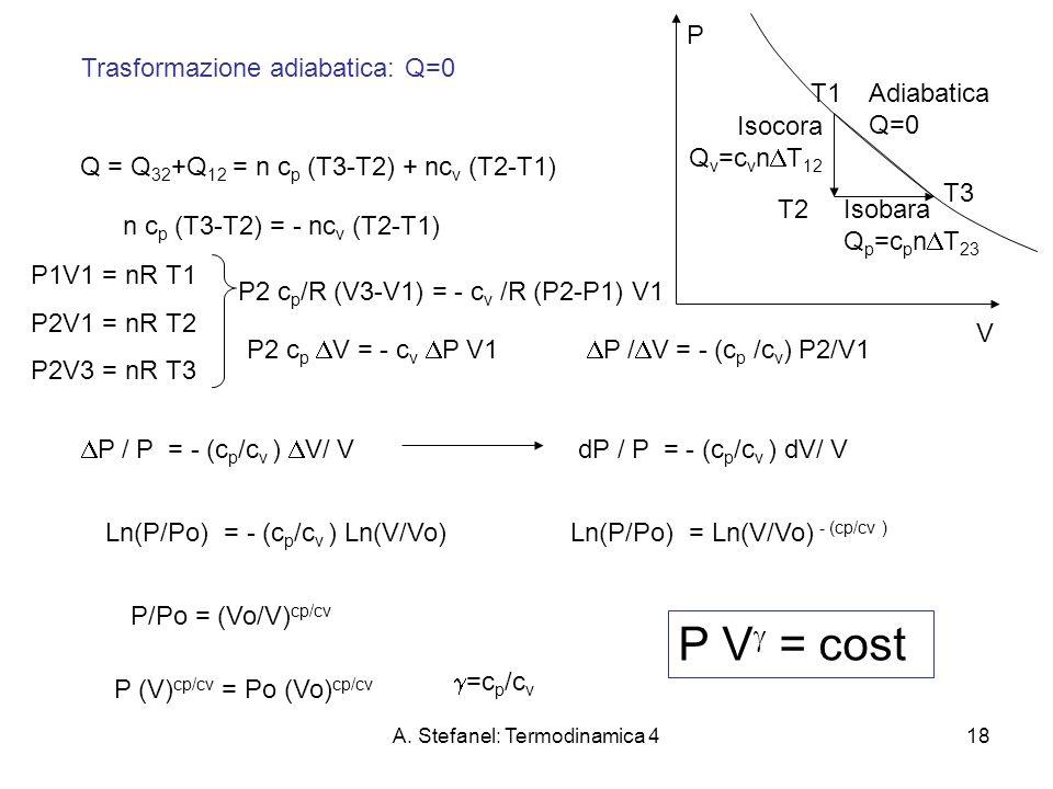 A. Stefanel: Termodinamica 418 Trasformazione adiabatica: Q=0 Q = Q 32 +Q 12 = n c p (T3-T2) + nc v (T2-T1) Adiabatica Q=0 Isocora Q v =c v n T 12 Iso