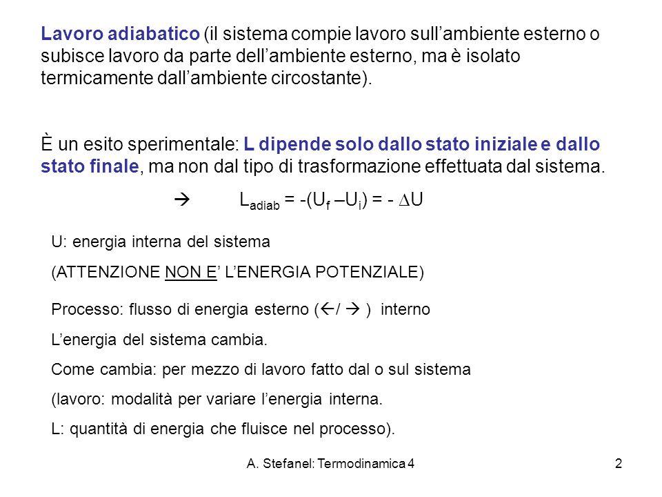 A. Stefanel: Termodinamica 42 Lavoro adiabatico (il sistema compie lavoro sullambiente esterno o subisce lavoro da parte dellambiente esterno, ma è is