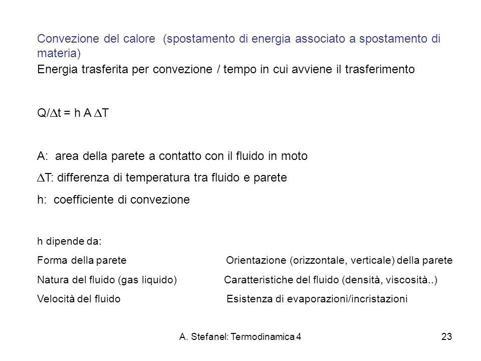 A. Stefanel: Termodinamica 423 Convezione del calore (spostamento di energia associato a spostamento di materia) Energia trasferita per convezione / t