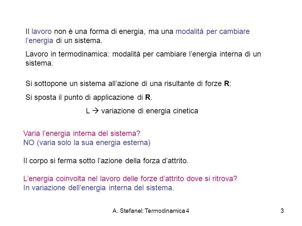 A. Stefanel: Termodinamica 43 Il lavoro non è una forma di energia, ma una modalità per cambiare lenergia di un sistema. Lavoro in termodinamica: moda