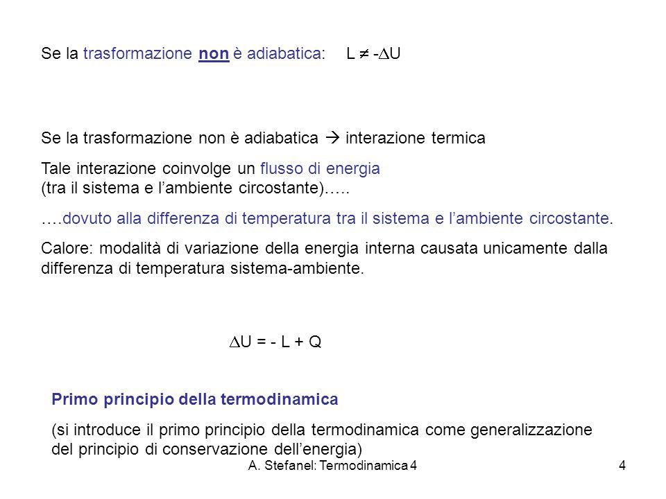 A. Stefanel: Termodinamica 44 Se la trasformazione non è adiabatica: L - U Se la trasformazione non è adiabatica interazione termica Tale interazione