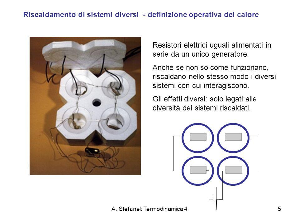 A. Stefanel: Termodinamica 45 Riscaldamento di sistemi diversi - definizione operativa del calore Resistori elettrici uguali alimentati in serie da un