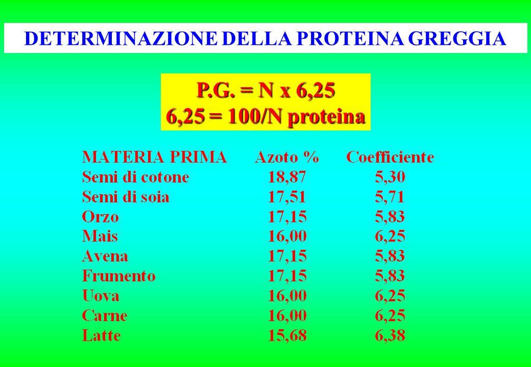 P.G. = N x 6,25 6,25 = 100/N proteina DETERMINAZIONE DELLA PROTEINA GREGGIA
