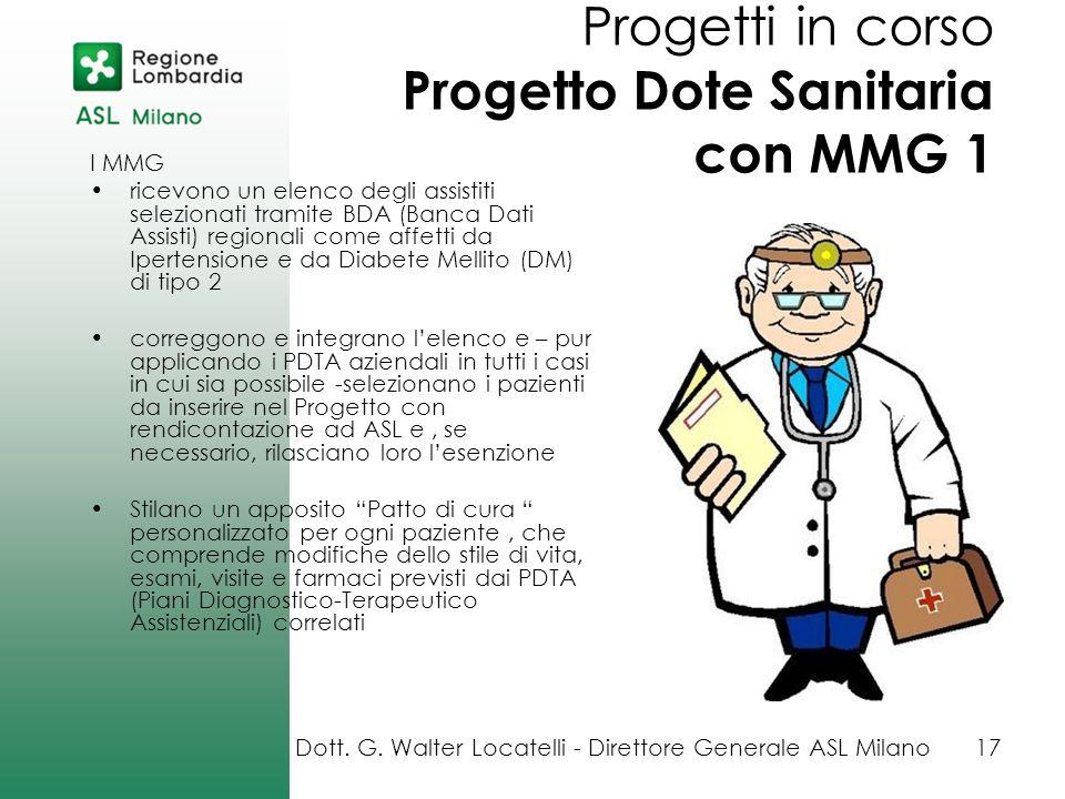 Progetti in corso Progetto Dote Sanitaria con MMG 1 I MMG ricevono un elenco degli assistiti selezionati tramite BDA (Banca Dati Assisti) regionali co