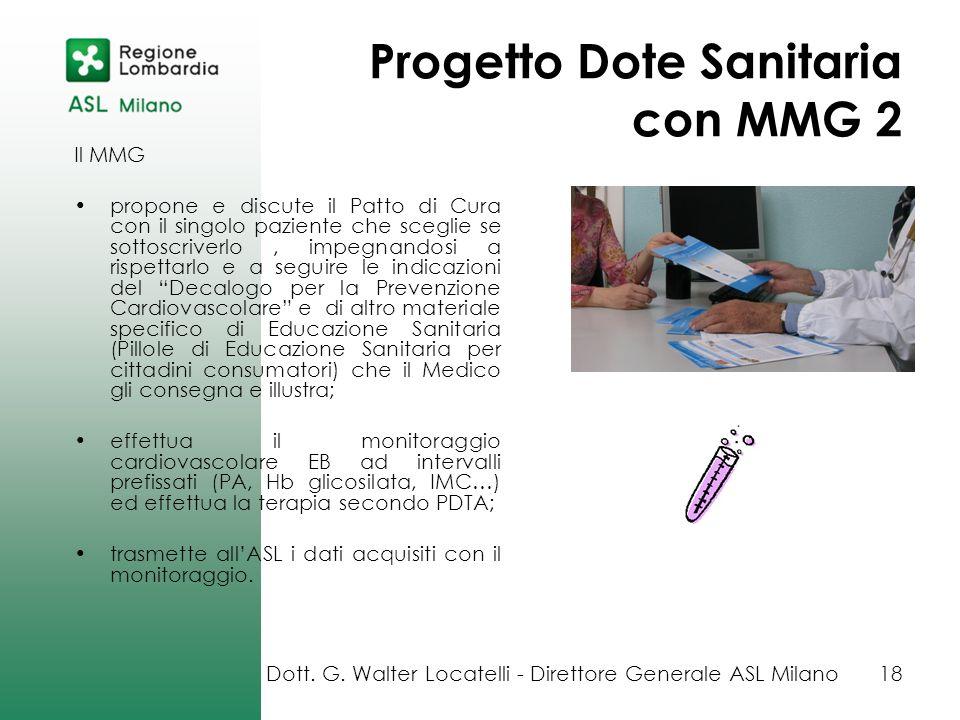 Progetto Dote Sanitaria con MMG 2 Il MMG propone e discute il Patto di Cura con il singolo paziente che sceglie se sottoscriverlo, impegnandosi a risp