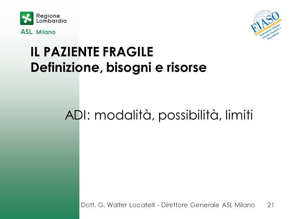 IL PAZIENTE FRAGILE Definizione, bisogni e risorse ADI: modalità, possibilità, limiti Dott. G. Walter Locatelli - Direttore Generale ASL Milano21
