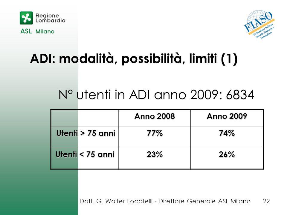 ADI: modalità, possibilità, limiti (1) N° utenti in ADI anno 2009: 6834 Dott. G. Walter Locatelli - Direttore Generale ASL Milano22 Anno 2008 Anno 200