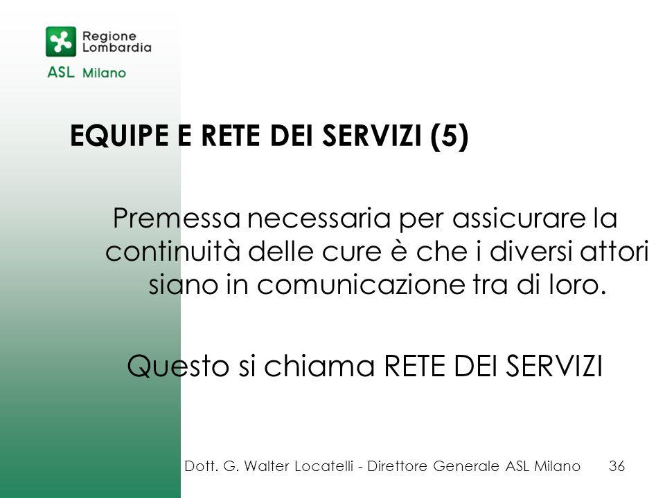 EQUIPE E RETE DEI SERVIZI (5) Premessa necessaria per assicurare la continuità delle cure è che i diversi attori siano in comunicazione tra di loro. Q