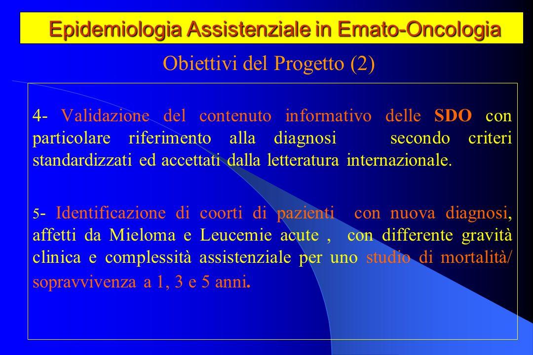Epidemiologia Assistenziale in Emato-Oncologia Epidemiologia Assistenziale in Emato-Oncologia - Realizzazione di un atlante regionale per lAbruzzo,Puglia e Veneto di ospedalizzazione dei pazienti con le patologie in studio.