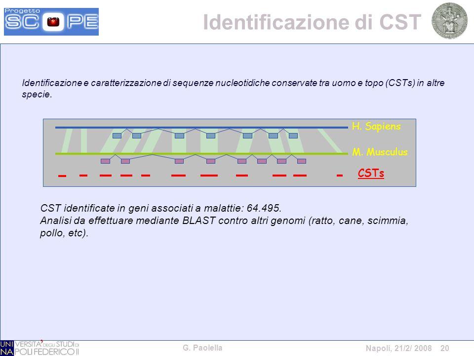 G. Paolella Napoli, 21/2/ 2008 20 Identificazione e caratterizzazione di sequenze nucleotidiche conservate tra uomo e topo (CSTs) in altre specie. H.