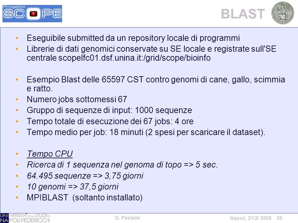 G. Paolella Napoli, 21/2/ 2008 25 BLAST Eseguibile submitted da un repository locale di programmi Librerie di dati genomici conservate su SE locale e