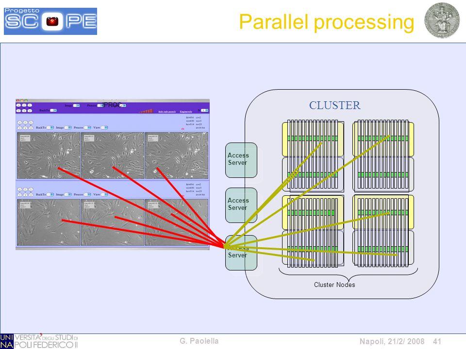 G. Paolella Napoli, 21/2/ 2008 41 Cluster Nodes Access Server Access Server Access Server CLUSTER IPROC Parallel processing