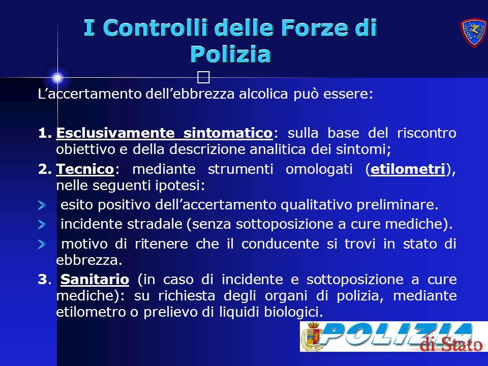 14 I Controlli delle Forze di Polizia Laccertamento dellebbrezza alcolica può essere: 1.Esclusivamente sintomatico: sulla base del riscontro obiettivo