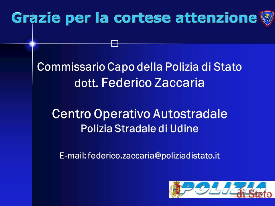 28 Grazie per la cortese attenzione Commissario Capo della Polizia di Stato dott. Federico Zaccaria Centro Operativo Autostradale Polizia Stradale di