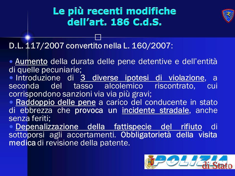 3 Le più recenti modifiche dellart. 186 C.d.S. D.L. 117/2007 convertito nella L. 160/2007: Aumento della durata delle pene detentive e dellentità di q