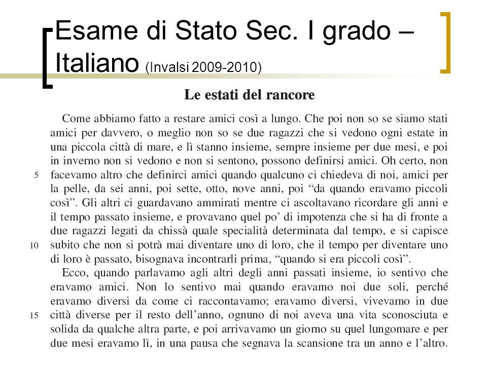 11 Esame di Stato Sec. I grado – Italiano (Invalsi 2009-2010)