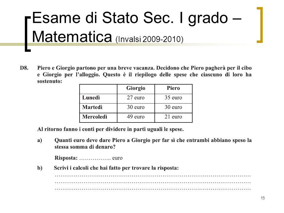 15 Esame di Stato Sec. I grado – Matematica (Invalsi 2009-2010)