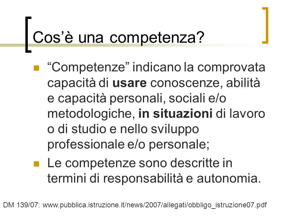 5 Cosè una competenza? Competenze indicano la comprovata capacità di usare conoscenze, abilità e capacità personali, sociali e/o metodologiche, in sit