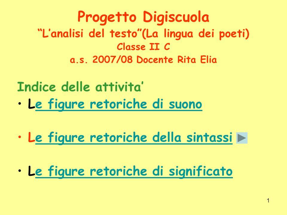 1 Progetto Digiscuola Lanalisi del testo(La lingua dei poeti) Classe II C a.s. 2007/08 Docente Rita Elia Indice delle attivita Le figure retoriche di