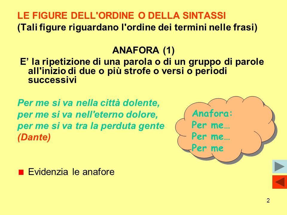 2 LE FIGURE DELL'ORDINE O DELLA SINTASSI (Tali figure riguardano l'ordine dei termini nelle frasi) ANAFORA (1) E la ripetizione di una parola o di un