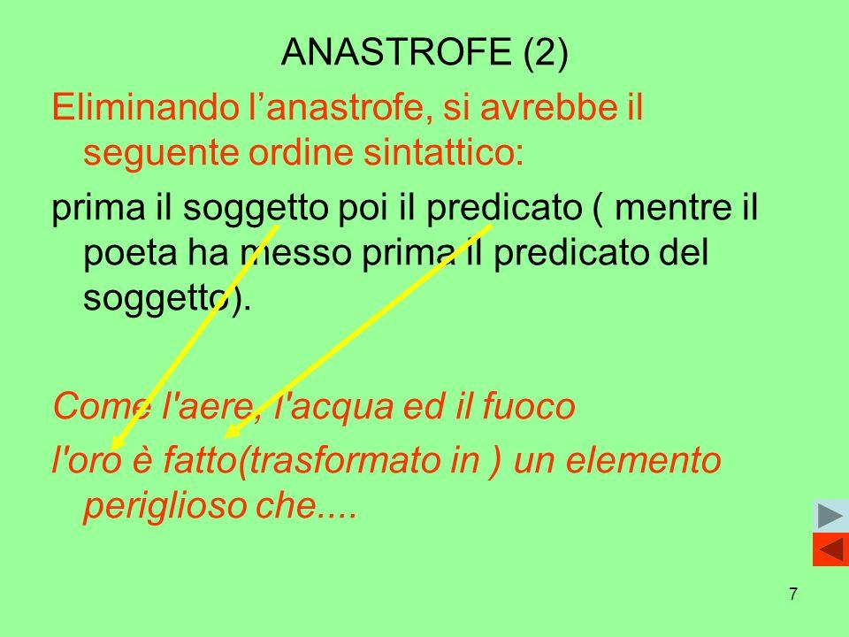 7 ANASTROFE (2) Eliminando lanastrofe, si avrebbe il seguente ordine sintattico: prima il soggetto poi il predicato ( mentre il poeta ha messo prima i