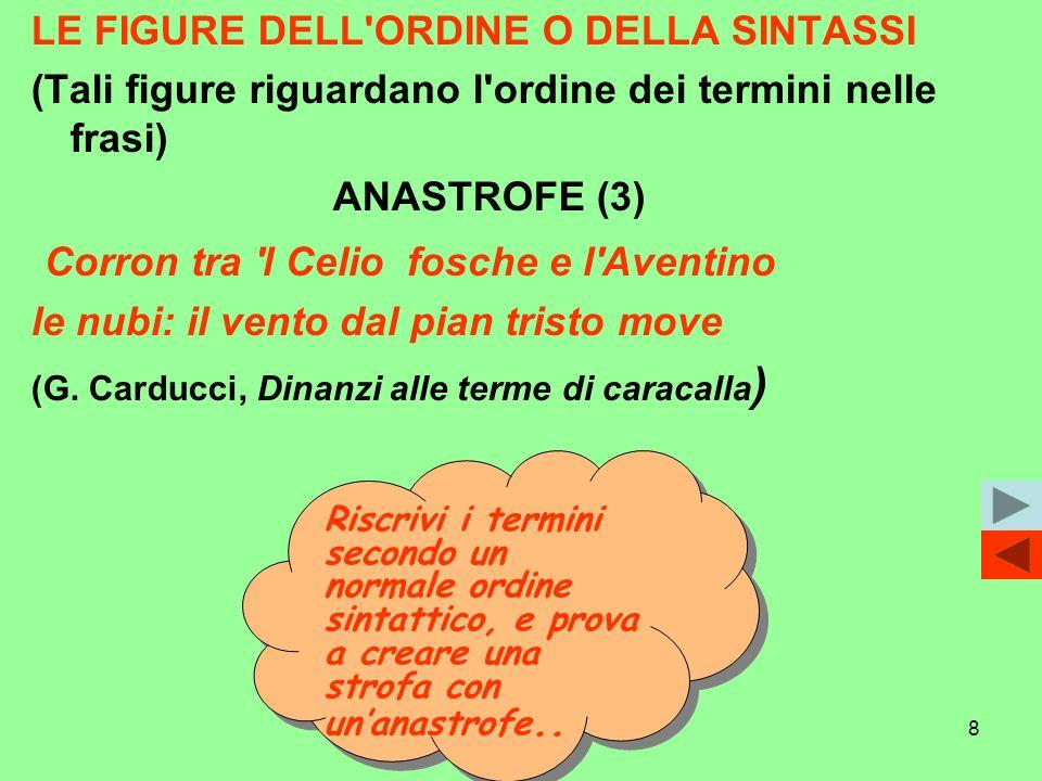 8 LE FIGURE DELL'ORDINE O DELLA SINTASSI (Tali figure riguardano l'ordine dei termini nelle frasi) ANASTROFE (3) Corron tra 'l Celio fosche e l'Aventi