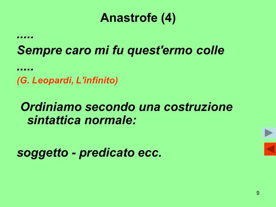 9 Anastrofe (4)..... Sempre caro mi fu quest'ermo colle..... (G. Leopardi, L'infinito) Ordiniamo secondo una costruzione sintattica normale: soggetto