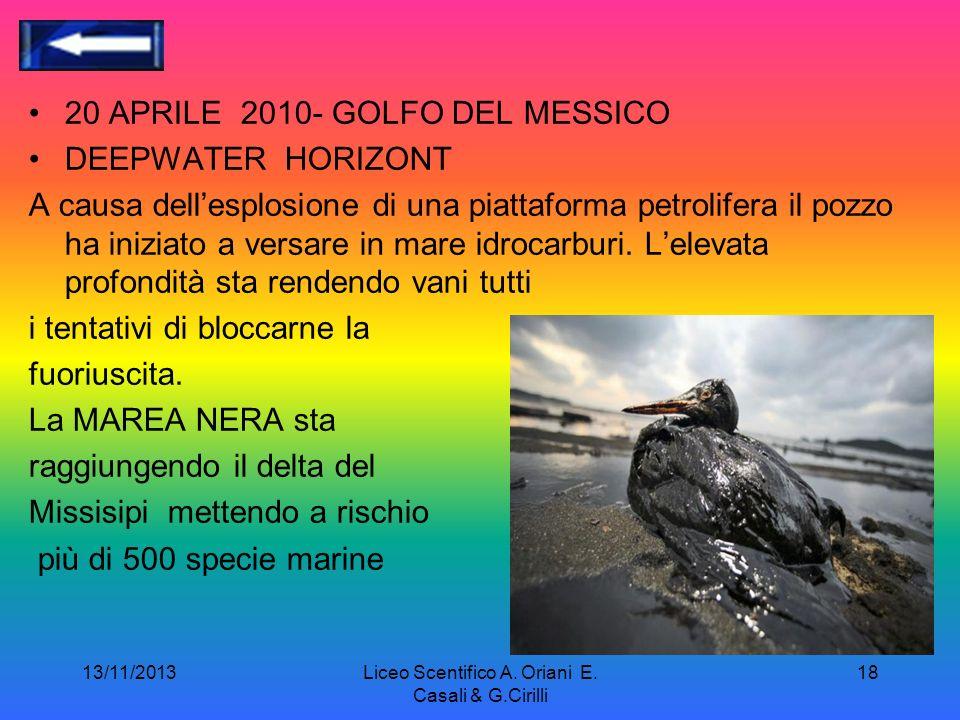 13/11/2013Liceo Scentifico A. Oriani E. Casali & G.Cirilli 17 La marea nera uno degli obbiettivi di Greenpeace è prevenire che lo sfruttamento delle r