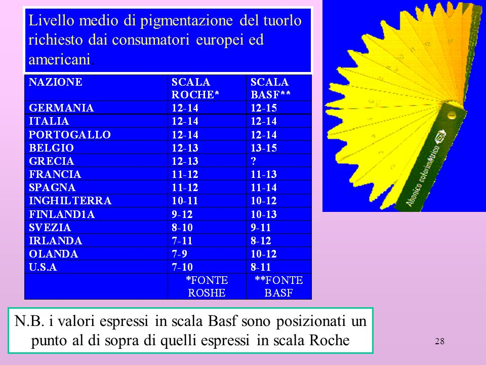 28 Livello medio di pigmentazione del tuorlo richiesto dai consumatori europei ed americani. N.B. i valori espressi in scala Basf sono posizionati un