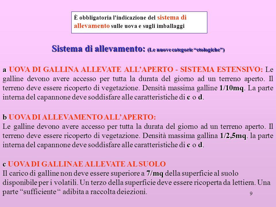 9 Sistema di allevamento: (Le nuove categorie etologiche) a 1/10mq cd a UOVA DI GALLINA ALLEVATE ALLAPERTO - SISTEMA ESTENSIVO: Le galline devono aver