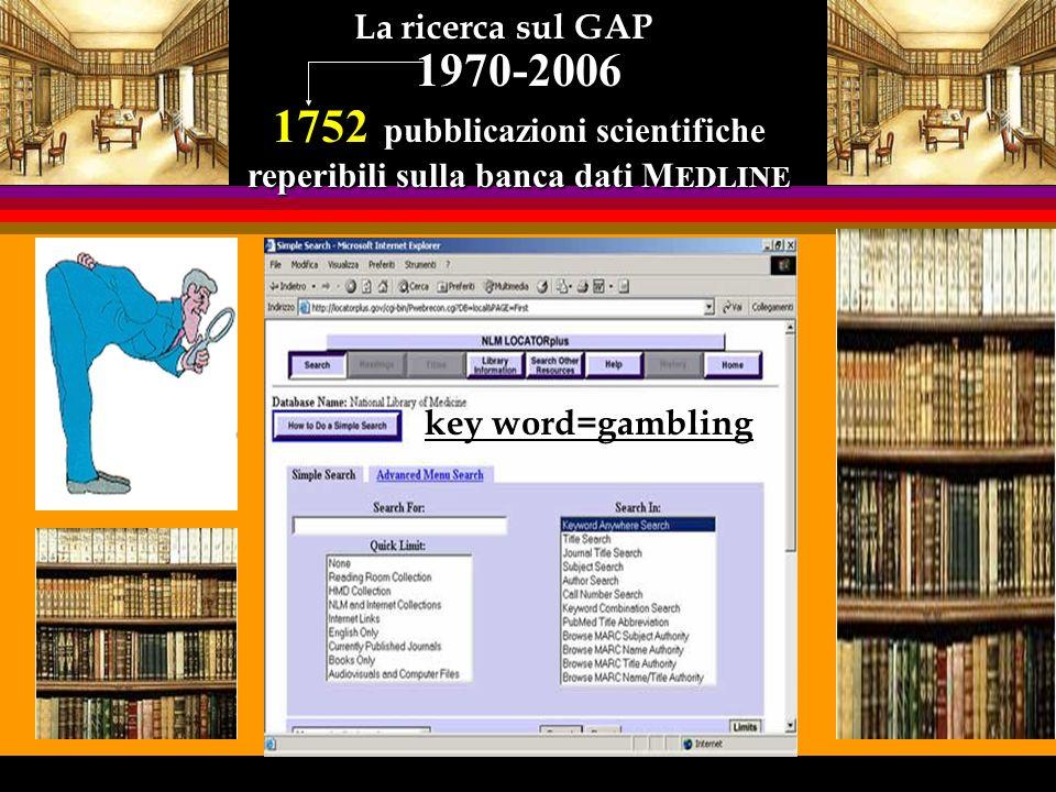 Distribuzione della quantità di ricerche reperibili su MEDLINE key word: gambling 1970-2005