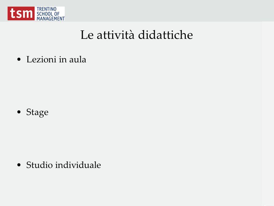 Le attività didattiche Lezioni in aula Stage Studio individuale