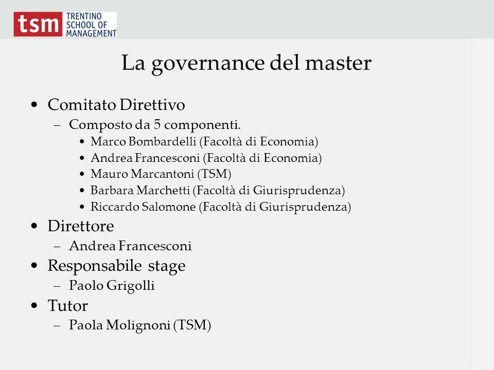 La governance del master Comitato Direttivo –Composto da 5 componenti. Marco Bombardelli (Facoltà di Economia) Andrea Francesconi (Facoltà di Economia