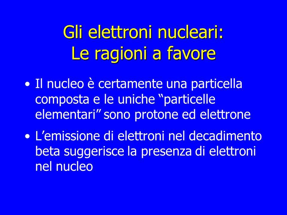 Gli elettroni nucleari: Le ragioni a favore Il nucleo è certamente una particella composta e le uniche particelle elementari sono protone ed elettrone