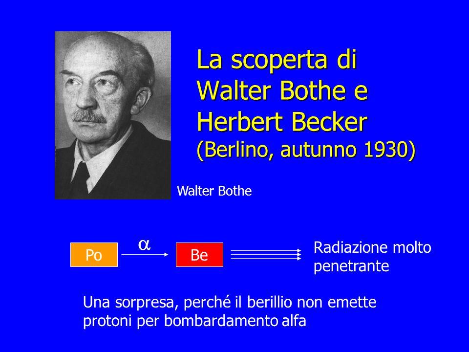 La scoperta di Walter Bothe e Herbert Becker (Berlino, autunno 1930) Walter Bothe Po Be Radiazione molto penetrante Una sorpresa, perché il berillio n