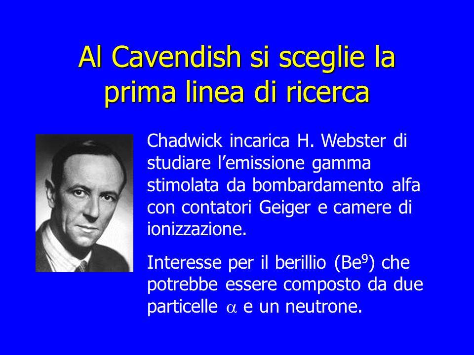 Al Cavendish si sceglie la prima linea di ricerca Chadwick incarica H. Webster di studiare lemissione gamma stimolata da bombardamento alfa con contat