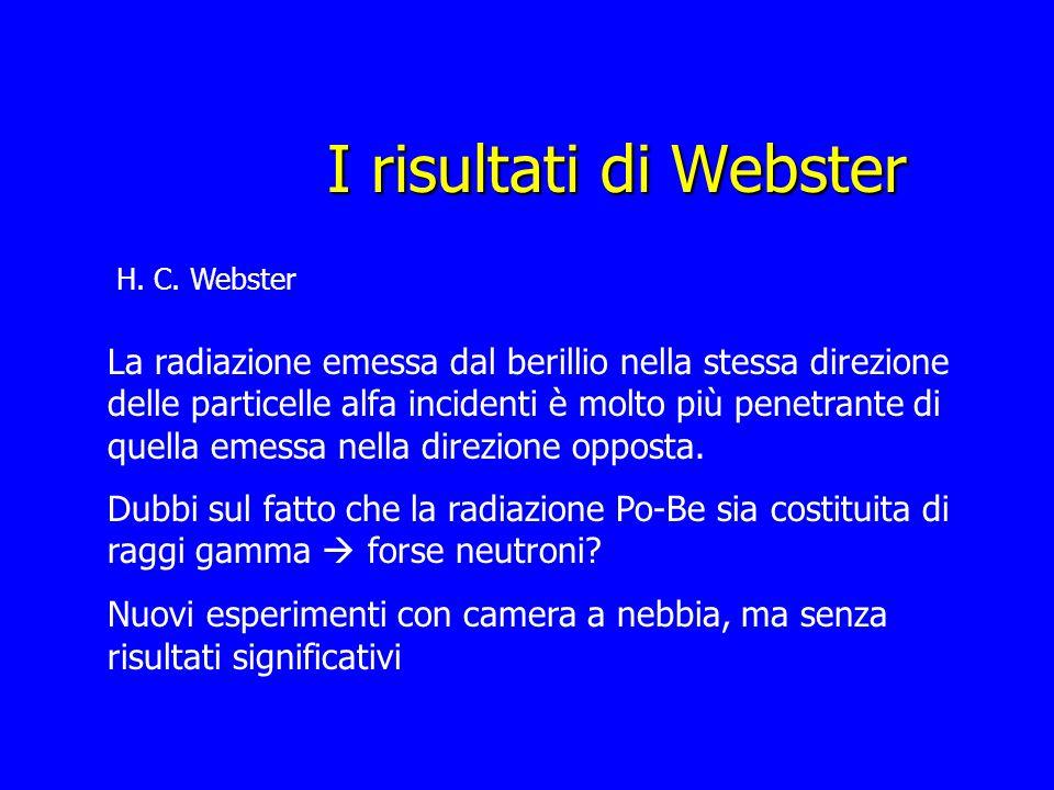 I risultati di Webster H. C. Webster La radiazione emessa dal berillio nella stessa direzione delle particelle alfa incidenti è molto più penetrante d